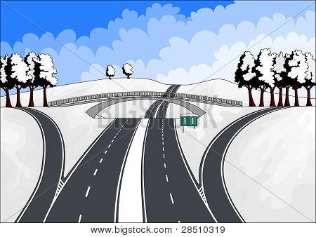 highways in winter landscape