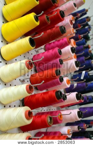 Bunch Of Colorful Cotton Bobbins