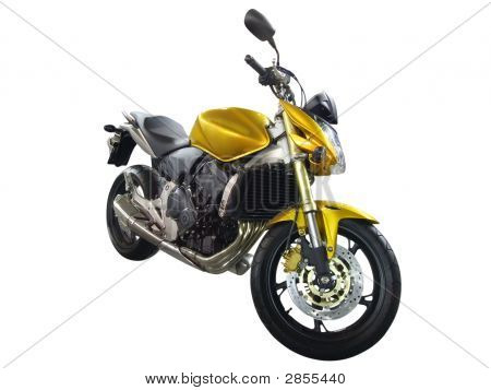 Yellow Fast Motorcycle Isolated