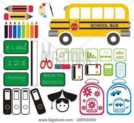 Vector - Set of School Tools, Symbols & Icons