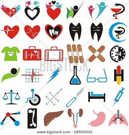 VECTOR - Set of Medical Icons, Symbols, Signs - Human Organs (Lungs, Liver, Kidney, Femur Bone) - Pharmaceutical sign (with blue crescent) Great Collection
