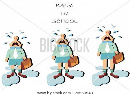 VECTOR - colegial esperando el autobús - pie & carga su griterío de bolsa & & lágrimas hizo lugar en t