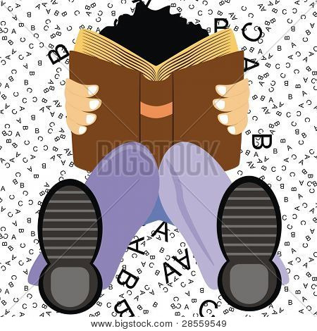 VECTOR - A Student Setting on the Ground Studying English Language Book to get Distinction & High Marks on ABC Background - His Knee is Flexed - He is wearing Shoe - Good Boy (Cartoon Character)