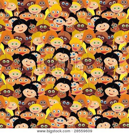 VECTOR - Kiddy Background - Kindergarten Smart Boys & Cute Girls Faces - Back to School Wrapper - Happy Schoolboy & Schoolgirl