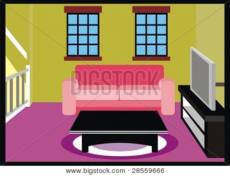 VECTOR - Living Room with Furniture - TV, Table, Sofa ( Couch ) - Carpet, Window, Stair Gate - Interior Design