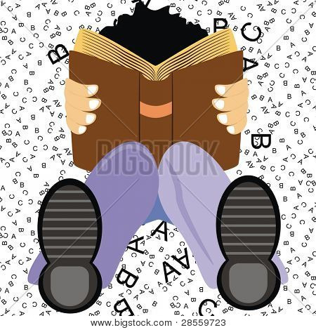 A Student Setting on the Ground Studying English Language Book to get Distinction & High Marks on ABC Background - His Knee is Flexed - He is wearing Shoe - Good Boy (Cartoon Character)