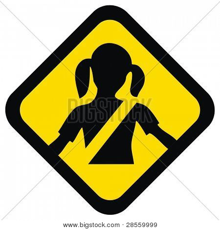 VECTOR - Warning Sign - For Your Kid Safety Help them to Fasten Seat belt to save the child life - It is mandatory to Obey this Traffic Rule to Avoid Injury or Death