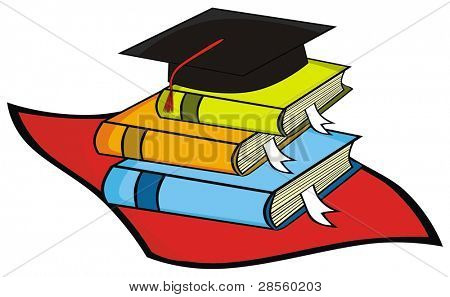 VECTOR - Mortar Board Along with Some Books Belong to  Graduated Student ( Alumni )
