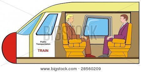 VECTOR - Train with Cross-Section for the First Class Seat - Two Businessmen Setting on Comfortable Seats Discussing and Talking - Using of Public Transportation Concept - Multi-Use