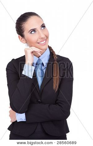 smiling businesswoman thinking about vacation,  isolated on white background