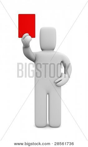 Person showing a red card. Image contain clipping path
