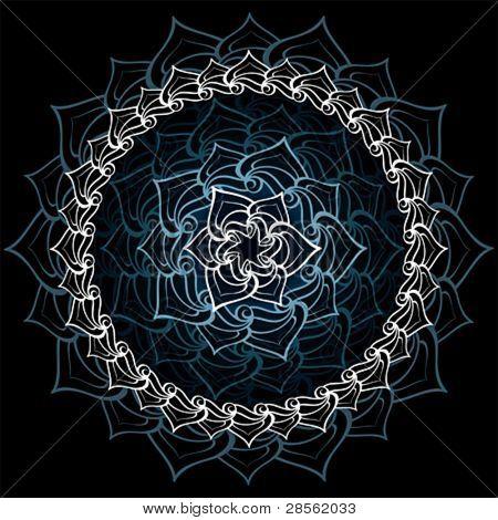 Abstract sacred lotus mandala over bluish black