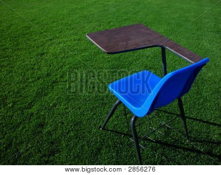 Student Desk On Football Field
