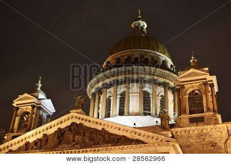 St. Isaak'c Cathedral at night in St. Petersburg