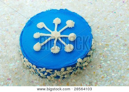 Snowflake Cake On Artificial Snow