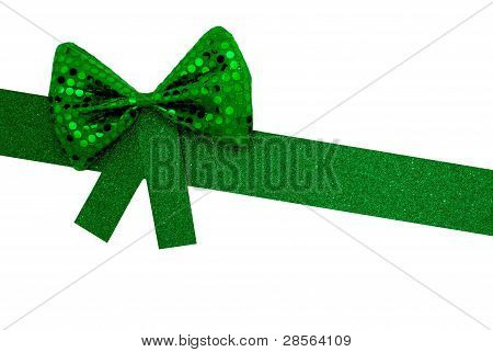 Green Bowtie & Ribbon On Angle