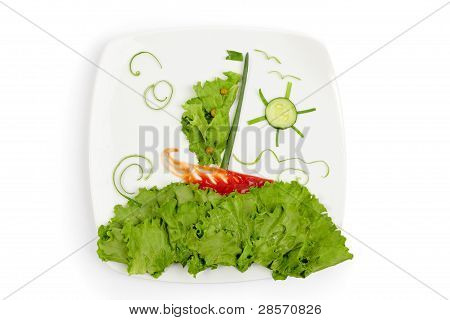 Concept Of Healthy Eating - Plate With Vegetables As Sea Lanscape With Ship Floats On Waves With Clo