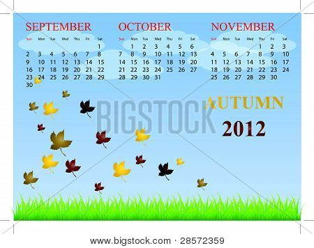 Calendar for autumn 2012