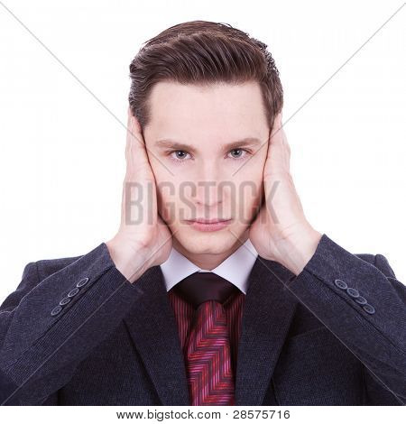 young business man with the hear no evil gesture on white background