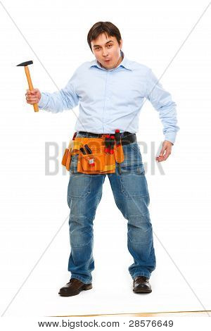 Construction Worker Showing Monkey With Hammer. Unskillful Tool Treatment Concept