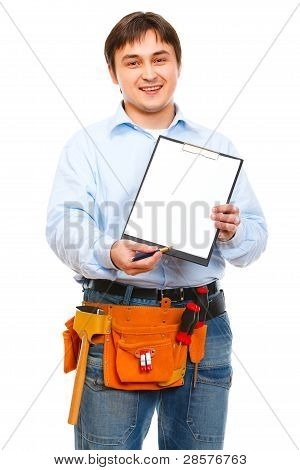 Construction Worker Giving Clipboard And Pen For Signing