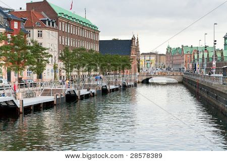 Frederiksholms Kanal And Holmens Bro In Copenhagen