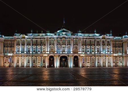 Winter Palace At Night In St. Petersburg, Russia