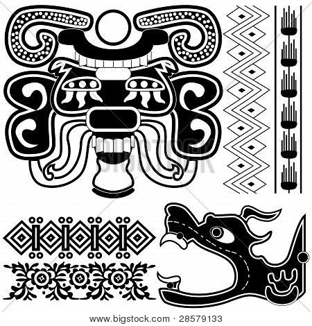 Ancient American Patterns With Dragon