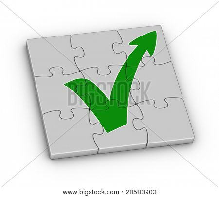 green check mark with arrow on jigsaw puzzle