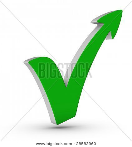 green check mark with arrow on white background