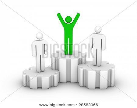 man on first place podium