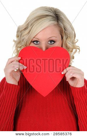 Young Woman Holding A Paper Heart 03
