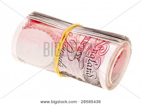 Pound sterling rolled up bank notes, isolated on white