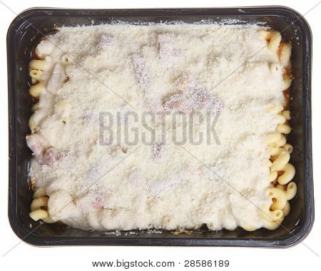 Packaged pasta meal with chicken bacon and cheese. Uncooked.