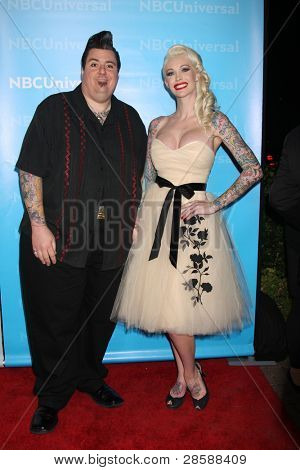 LOS ANGELES - JAN 6:  Joe Capobianco, Sabina Kelley arrives at the NBC Universal All-Star Winter TCA Party at The Athenauem on January 6, 2012 in Pasadena, CA