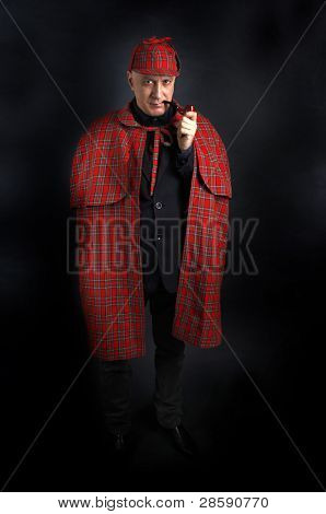 Detective Sherlock Holmes portrait on black
