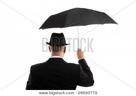 Man with umbrella view from back