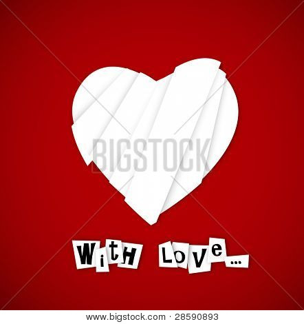 Corazón de San Valentín de corte de papel salidas y con texto.