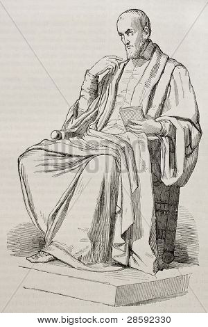 Etienne Pasqueier marble statue, old illustration. Sculpted by Foyatier, published on Magasin Pittoresque, Paris, 1845