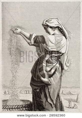 italienische Frau Wind Worfeln in römischen Landschaft. erstellt von Lehmann, veröffentlicht am Magasin pittores