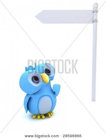 3D Render eines niedlichen blaue Vogel-Zeichens