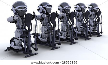 3D render of robots on crosstrainers