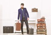 Man, Traveller With Beard And Mustache With Luggage, Luxury White Interior Background. Macho Elegant poster