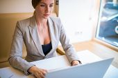 Concentrated Woman Professional Advertiser Typing Promotional Text On Laptop Computer Sitting In Cow poster