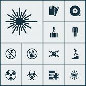 Safety Icons Set With Caution, Hand Protection, High Voltage Laser Beam Elements. Isolated Vector Il poster