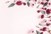 Flowers Composition. Eucalyptus Leaves And Pink Flowers On Pastel Pink Background. Valentines Day, M poster