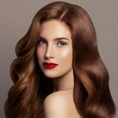 Beautiful Hair Woman. Female Model Girl With Long Red Curly Hair. Redhead Woman Portrait poster