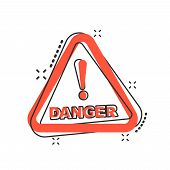 Vector Cartoon Danger Icon In Comic Style. Attention Caution Sign Illustration Pictogram. Danger Bus poster