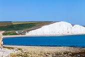 White Cliffs Of Dover Background Image. Beautiful Sunny Day On White Cliffs Of Dover In Great Britai poster