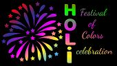 Festival Of Color Holi, Colorful Salute On A Black Background And The Inscription Holi. Happy Holi F poster